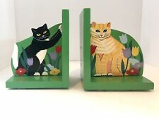 New listing Hand Painted Wooden Cat Bookends ginger tuxedo kittens 1991 Perkins & Morley