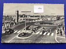 Postcard Rhyl Clock Tower & Central Promenade Real Photograph RPPC Postmark 1960
