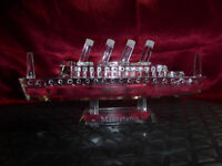 RMS Mauretania CRYSTAL OCEAN LINER / CUT GLASS SHIP Cunard Line Model Ornament