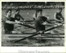 1989 Press Photo UCLA Varsity Eight Crew battles Penn in the IRA Regatta