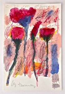 CY TWOMBLY -- A 1999 ORIGINAL FOUR FLOWERS IMPASTO PAINTING, SIGNED, ROMA, ROME