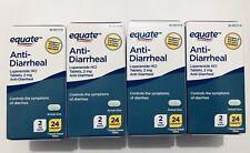 4 Packs Equate Anti-Diarrheal HCI 2mg 24 Caplets, Total 96 Caplets, Exp: 06/2023