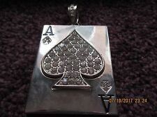 "Ace of Spades Silver Pendant Costume Crystal Rhinestones Inside Spade 2 1/2""x3"""