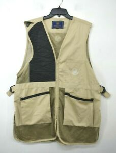 Beretta Men Tan Sleeveless V-Neck Full Zip Patch Pocket Shooting Hunting Vest