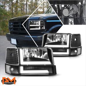 For 92-96 Ford F150-F350 6Pcs Dual L-Shape LED DRL Bumper Headlight Black/Clear