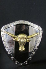 New Men Silver Metal Plate Cowboy Western Fashion Large Buckle Gold Bull Head