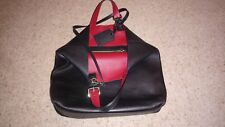 BURBERRY BLACK LEATHER TOTE BAG WITH RED LINING 100% GENUINE