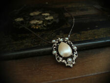 Vintage Necklace Pendant with Teardrop Pearl and Crystals Gunmetal