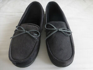 Unworn men's herringbone isotoner moccasin slippers UK Size 7-8