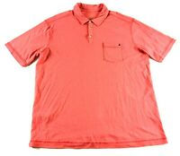 Tommy Bahama Mens Pink Short Sleeve Polo Shirt Size XL