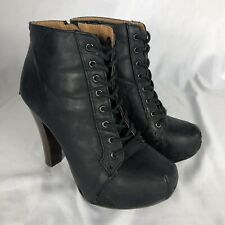Jeffrey Campbell Lita Style Lace Up Black Leather Heels/Size 7