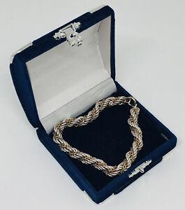 Chunky Vintage Bracelet Sterling Silver 925 Twisted Rope 30g Hallmarked IJ Smart
