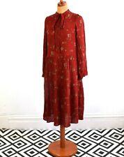 Vintage 80's Burnt Orange Ethnic Print Dress Retro Boho 12 - 14