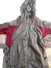 Salomon Hooded Gray Women's Thin Windbreaker Jacket Zip Pockets Sz L