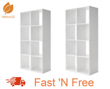 New 2 X 8 Cube Unit Storage Shelf Display Cupboard Bookshelf Cabinet - White