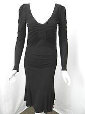 GUCCI Black Matte Jersey Squared V-Neck Pintuck Detail Open Back Dress sz M