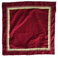 NEW Pottery Barn Dark Red Velvet EURO Pillow Sham 26x26 Green Ribbon Holiday
