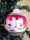 RADKO SHINY BRITE FLOCKED STENCILED PINK&GOLD GLASS SNOWMAN SKIING XMAS ORNAMENT