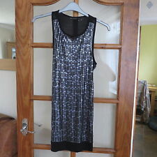 MNG Casual Sportswear Black /Silver t/shirt Dress size S Excellent