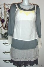 NOA NOA - Camiseta Top Blanco Amarillo Bordado Talla S/36 - Blanco - NUEVO blusa