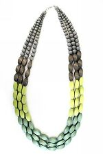 Womens Handmade Wooden Statement Necklace Green/Blue Large/Chunky Bead