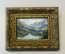 Vintage Original Miniature Oil Painting Mountain Landscape River Gold Frame