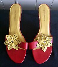 Enzo Angiolini 'Obleia' Orange w/ Yellow Grommet Flower Leather Sandals, Size 10