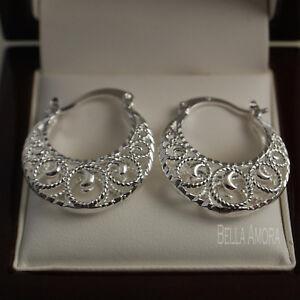 925 Silver Filigree Creole Hoop Drop Earrings - 25mm New UK