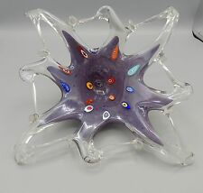 Vintage Murano Glass Bowl Millefiori Starfish Free Form Edge Lavender Italy