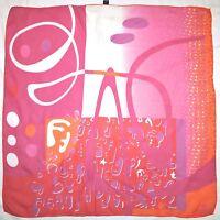 Authentic FENDI Abstract ART Logo Design Pink Orange Delicate Crepe Silk SCARF