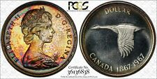 1967 CANADA GOOSE SILVER $1 DOLLAR PCGS PL65 MONSTER TONED COLOR HIGH GRADE