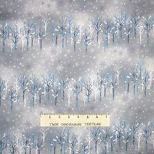 Christmas Fabric - Snowflake Wonder Gray Blue Snow Tree Stripe - Elite YARD
