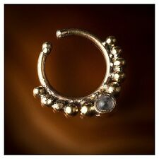Tribal Fake/ faux Brass Septum Ring with set Labradorite stone(Code 6)