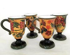 Raymond Waites Certified International Gold Fruit & Floral Mugs Pedestal