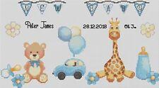 Sampler de Nacimiento Juguetes para Bebé en Azul Punto Cruz Kit Completo #5-112