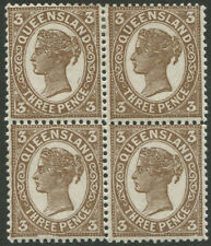 Queensland: 1898 (SG.240) 3d Brown, block (4) with all units showing Plate flaws
