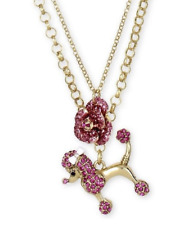 Betsey Johnson Gold-tone Poodle Dog Rose Pink Pendant Necklace B11820-NO1