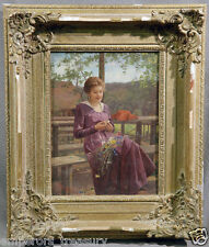 """19th Century European Oil Painting """"Woman with Flowers"""" Signed and Dated 1918"""