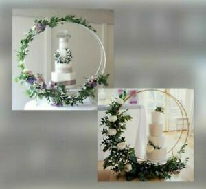 Modern Large Metal Double Ring/Hooped Wedding Cake Stand/Gold Or White Hoop