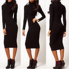 Mode Damen Winter langärmeliges Kleid Midi Bleistift Stretch Bodycon Pullover