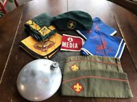 Vintage Boy Scout Lot Hats Kerchiefs Boy Scouts Canada Beret Media Band Canteen