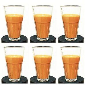 Indian Tea Glass Cutting Chai Glass 110 ml 6 PCs Thadi Tea Cups Clear Look,,.