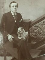 Antique Photo Photograph Cabinet Man with Small Dog WI 26458
