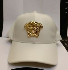 White Patent faux leather handmade gold medallion Medusa emblem snapback cap hat