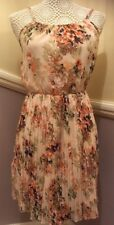 Boohoo Size Small Fully Lined Pretty Floral Summer Dress - Light Pink Multi