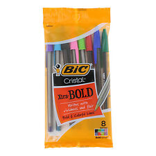 Bic Cristal Xtra Bold Stick Ballpoint Pens, 1.6mm, Bold, Assorted, Pack of 8