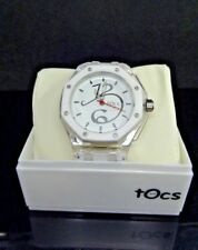 Tocs 40006G White Rubber Strap & Dial Acrylic White & Clear Case Dress Watch