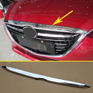 ABS Chrome Front Engine Grille Lid Cover Trim For Mazda 3 Accessories 2014-2016