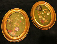 Vintage Dried Flowers & Butterfly Gilded Oval Frames Set of Two Wall Art Pressed