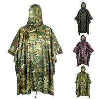 Plus Enhanced Waterproof Military Camo Raincoat Hooded Poncho Hunting Camping